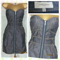 💙 KAREN MILLEN Blue Denim Zip Up Corset Bustier Strapless Dress  Size UK 8 💙