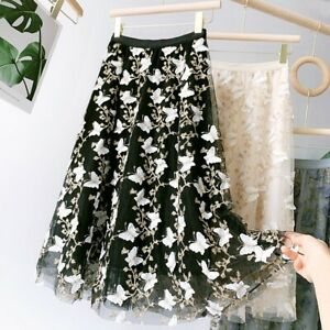 Ladies A-line Mesh Lace Embroidery Skirt Butterfly Midi Casual High Waist A Line