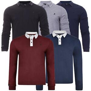 Mens Kangol Polo Rugby Shirt Long Sleeve Golf Badminton Casual Top
