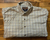 Duluth Trading Co Shirt Men's 3XL Button-Up LS Brown Plaid Cotton Casual GUC