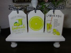 Farmhouse Style Decor Lemonade Signs, Tiered Tray Wood Block Sign Set of 3