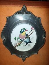 German Pewter/Porcelain Wall Plaque Bird Schwarrenhummer Pirrellan 10 Germany
