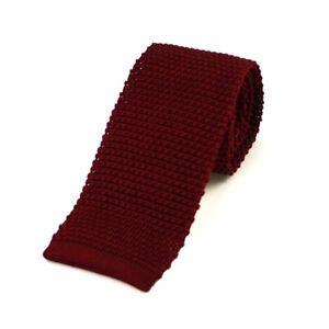 Men's Plain Burgundy Silk Knitted Tie (N997/15)