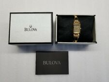 BULOVA DRESS CHAMPAGNE DIAL CRYSTALS GOLD-TONE ST.STEEL WOMEN'S WATCH 97P104 NEW