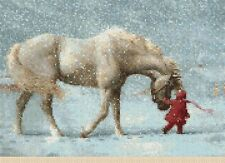 Girl and Pony in Winter Counted Cross Stitch COMPLETE KIT #2-111