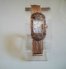 Vintage Look Marcasite Antique Special Occasion Rose Gold Finish Women's Watch