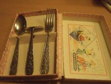 Extreme Rare! Walt Disney Donald Duck Child Fork, Spoon and Knife Set from 1968