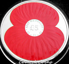 2012 Jersey £5 Five Pounds Proof Crown Coin Lest We Forget 1918 Red Poppy UNC