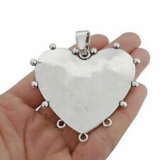 2pcs Antique Silver Large Heart Connector Charms Pendants for Necklace Making