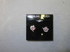 Open Heart Cubic Zirconia & Pink CZ Post Earrings 1/2 Inch .925 SS  2.4 Grams