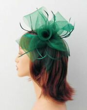 Large Emerald Green Mesh Flower Bow & Shaped Feather Hair Fascinator on clip