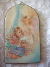 Schutzengelbild auf Holz, Mädchen mit Schutzengel, Bild
