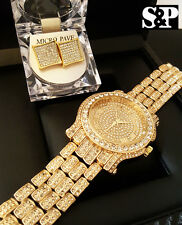 Men Hip Hop Iced out Gold PT Techno Pave Simulated Diamond Watch & Earrings Set