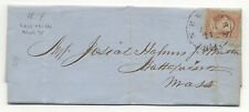 1854 STAMPED FOLDED LETTER - Newport RI to Mass. - with GW 3c Stamp - NICE!