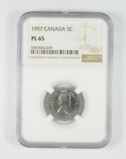 PL65 1957 Canada 5 Cents - Graded NGC *090