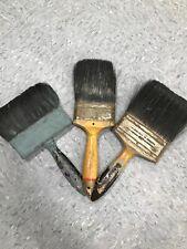 3 Vintage Paint Brushes Gold cresto, Vulcanized Rubber