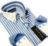 Camicia da Uomo Casual Elegante Formale Bambino Blu Doppio Colletto Manica Lunga