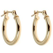 14K Solid Gold Baby Tubular Hoop Earring Huggy 12mm