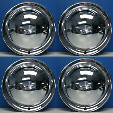 """15"""" Full Moon Smoothie Style Chrome Steel Hot Rod Hubcaps Wheel Covers NEW SET"""