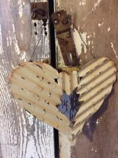 Antiqued Primitive Angel Wings Heart Ornament Corrugated Rusty DIstressed Metal
