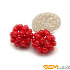 Round Coral Gemstone Ball Beads For Jewelry Making 2 Pcs Assorted Colors 12mm