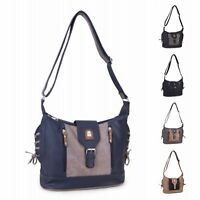Ladies Two Tone Saddle Bag Buckle Shoulder Bag Cross Body Utility Handbag M1732