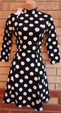 G21 BLACK WHITE SPOTTED SPOTTY LONG SLEEVE NECK SKATER A LINE TEA RARE DRESS 8 S