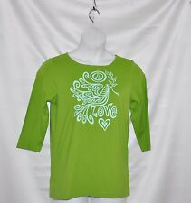 Bob Mackie Graphic Peace and Love 3/4 Sleeve Knit Top Size S Lime