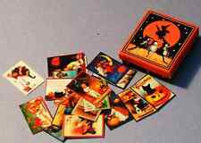 Dollhouse Miniature 1:12  Halloween Box and Postcards  witch cats  haunted house