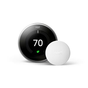 Nest Learning Thermostat Silver plus one Temperature Sensor