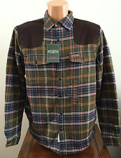 Field & Stream Mens S Small Olive Green Plaid Sherpa Lined Flannel Shirt Jacket