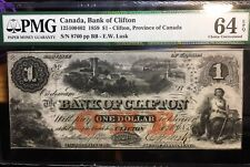 1859 $1 The Bank of Clifton with Bridge Province of Canada Pmg Ch Unc 64 Sn 8760