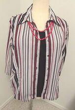 Joanna Plus Sz 2X Mock 2-piece White, Black, Red Top    245