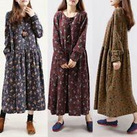 UK 8-24 Women Long Sleeve Round Neck Baggy Loose Vintage Floral Tops Shirt Dress