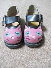 TUK ANARCHIC Lavender Black Leather Kitty cat Kitten Face Shoes Sz 7 Mary Janes