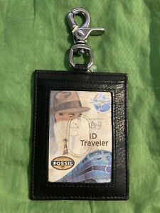 Fossil Clawhook ID Holder Traveler Black