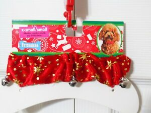 Fetchwear Christmas Holiday Star Pattern Pet Dog Collar With Bells-XS To Small