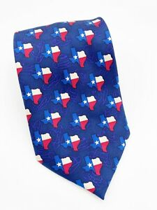 TEXAS American Flag 100% Silk Necktie Hand Made Red White Blue Circle S Neckwear