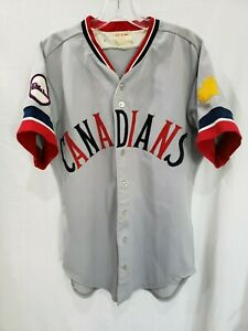 Rare Vintage 80s Wilson Vancouver Canadians White Sox #17 Game Jersey Mens 44 L