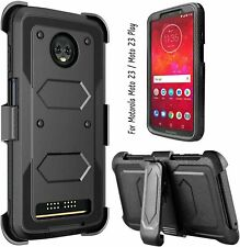 For Motorola Moto Z3 / Moto Z3 Play Case Full Body Heavy Duty Kickstand Black