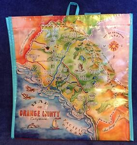 Map of Orange County California Reusable Plastic Bag - BLUE Handles & Border -