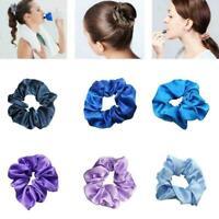 Women Silky Satin Hair Scrunchies Elastic Hair Bands Ponytail Hair Tie Rope I0R9