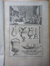 1775-DIDEROT e D'ALEMBERT-ORFEVRE GROSSIER-OREFICERIA DI OGGETTI-19 tavole+