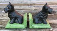 Cast Iron Pair of Black Scottish Terrier Dog Vintage-Style Heavy Bookends