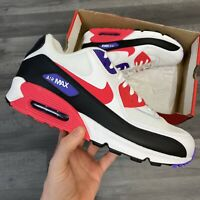 NIKE AIR MAX 90 ESSENTIAL WHITE RED TRAINERS SIZE UK11 US12 EUR46 AJ1285-106