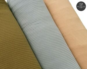 """Striped Corded Jersey Stretch Fabric, Khaki Grey Light Weight High Quality 48"""""""