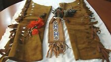 VINTAGE LEATHER CHAPS CLAW NECKLACE BEADED INDIAN OUTFIT