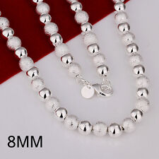 "925Sterling Silver Smooth Sandy Beads Chain Men Women Necklace 8MM 20"" NP086"