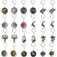 Game of Thrones Stark Targaryen Greyjoy Metal Keyring Key Ring Chain Pendant