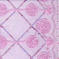 Baby Pink Embroidered Rosette Mesh, Fabric By The Yard